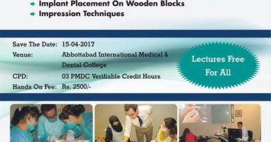 Essentials of Oral Implantology (Lectures and Hands on) 15 April 2017 Abbottabad Pakistan