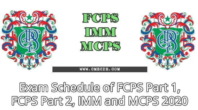 Fcps Calendar 2019.Exam Schedule Of Fcps Part 1 Fcps Part 2 Imm And Mcps 2020 Cme Cde